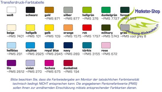 Transferdruckfarben Farbtabelle